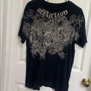 Black Affliction T Shirt Size L Sword